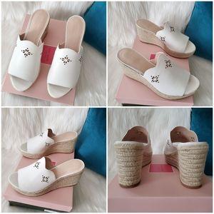 NEW Kate Spade Tia White Espadrille Wedge Sandal